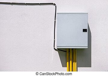 电, 控制, 盒子, 在上, the, 白的墙壁, 在中, factory.