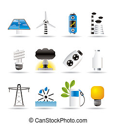 电, 能量, 力量, 图标