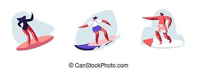 男の女性, サーファー, 活動, 健康, サーフィンをしなさい, イラスト, 夏, サーフィン, vacation., 人々, 特徴, 乗馬, ベクトル, 大きい, セット, 水泳, 漫画, board., 若い, recreation., 海, 波, ライフスタイル, ウエア