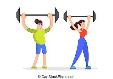 男の女性, スポーツ, 練習, バーベル