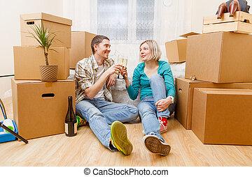 男の女性, モデル, 写真, 箱, びん, ソファー, ボール紙, ワイン
