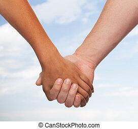 男の女性, 手を持つ