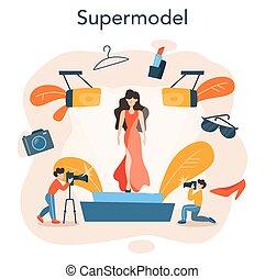 男の女性, concept., 表しなさい, モデル, ファッション, 新しい, 衣服