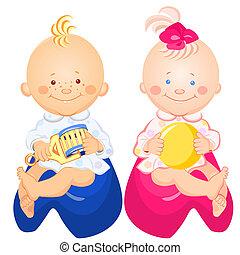 男の子のモデル, ポット, ベクトル, 女の赤ん坊
