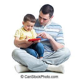 男の子のモデル, モビール, 父, 隔離された, 電話, クローズアップ, 背景, 使うこと, 白, 子供