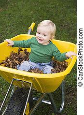 男の子のモデル, 若い, 一輪手押し車