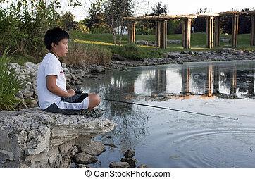 男の子のモデル, 若い, 間, 釣り, 岩