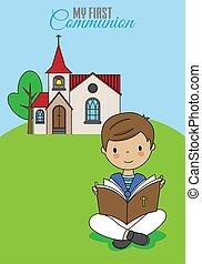 男の子の読書, card., behind., 聖餐, 最初に, 聖書, 教会