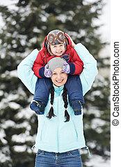 男の子の 子供, 息子, 冬, 母