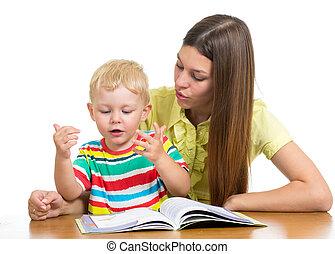 男の子の 子供, 本, 読書, 母