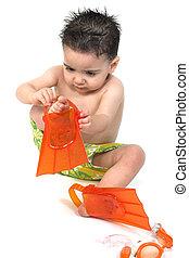 男の子の 子供, 水泳