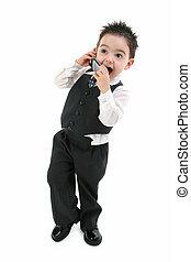 男の子の 子供, 電話, スーツ