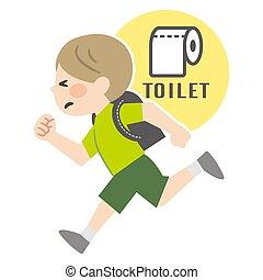 男の子ランニング, 忍耐, トイレ, イラスト
