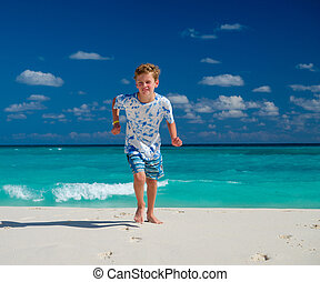 男の子ランニング, 浜