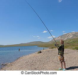 男の子釣, くるくる回る