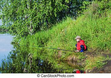 男の子釣, 朝, 夏
