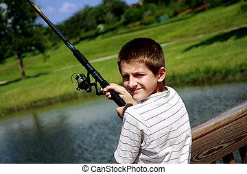 男の子釣, 池