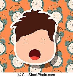 男の子, あくびする, 若い, 顔, clocks, 背景