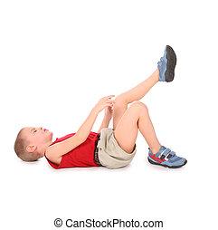 男の子, うそ, 隔離された, 上に, white., 痛み, 足