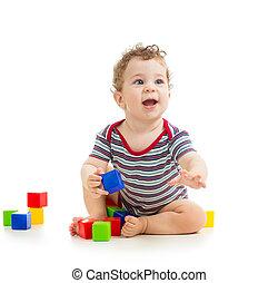 男の子, おもちゃ, ブロック, 隔離された, 背景, 赤ん坊, 白, 遊び