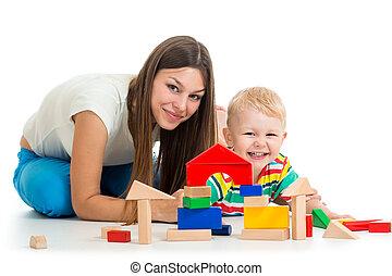 男の子, おもちゃ, 一緒に, 母親遊び, 子供