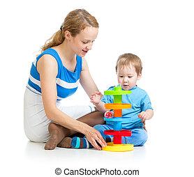 男の子, おもちゃ, 困惑, 一緒に, 母, 赤ん坊, 遊び