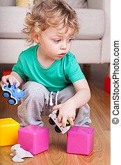 男の子, おもちゃ, 遊び, 床