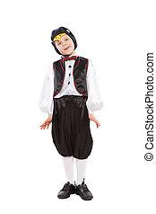 男の子, かわいい, ペンギン, 衣装, わずかしか