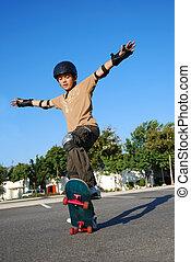 男の子, すること, スタント, 上に, a, スケートボード