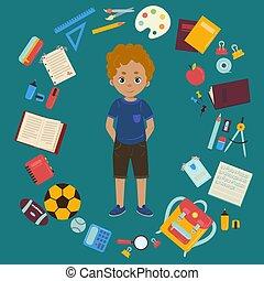 男の子, そして, 別, オブジェクト, ∥ために∥, 学校, イラスト