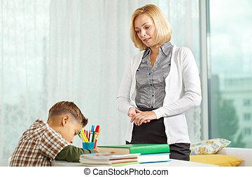 男の子, そして, 彼の, 家庭教師