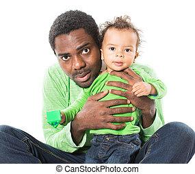 男の子, それ, 黒い背景, 抱きしめること, 隔離された, 子供, 白, 父, 愛, 赤ん坊, 使用, 幸せ, 子育て, ∥あるいは∥, 概念