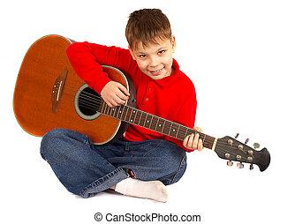 ∥, 男の子, ∥で∥, ∥, アコースティックギター, 上に, a, 白い背景