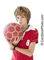 男の子, ∥で∥, ボール, a, 上に, 白い背景