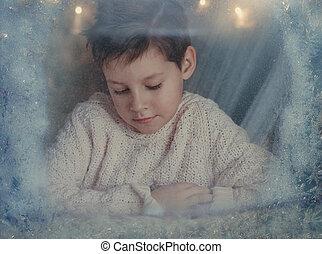 男の子, ∥において∥, ∥, 冬, 窓