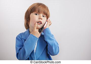 男の子, のように, grouth, 電話, 話し, かなり, 痛みなさい