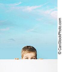 男の子, の後ろ, 板, 小さい, 肖像画, 大丈夫です, 隠ぺい