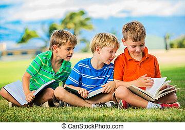 男の子 の グループ, 読書