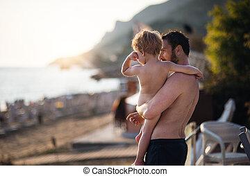 男の子, よちよち歩きの子, 夏, 父, space., holiday., 保有物, コピー, 浜