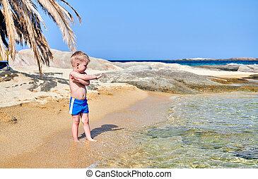 男の子, よちよち歩きの子, 浜