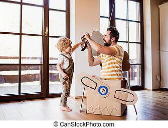 男の子, よちよち歩きの子, concept., 飛行, 父, 飛行機, 屋内, カートン, 遊び, 家