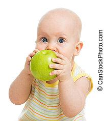 男の子, りんごを食べること, 隔離された, 緑, 赤ん坊, 白