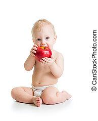 男の子, りんごを食べること, 隔離された, 赤ん坊, 白い赤