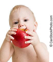 男の子, りんごを食べること, 隔離された, 赤ん坊, 白