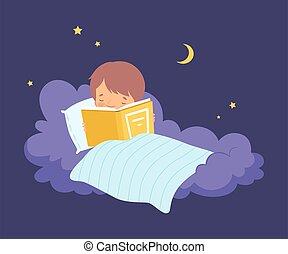 男の子, わずかしか, あること, ベクトル, 読書, 毛布, 雲, 下に, イラスト, かわいい, 本
