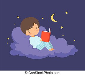 男の子, わずかしか, あること, ベクトル, 読書, 空の雲, イラスト, 夜, かわいい, 本