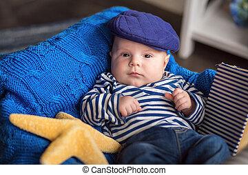 男の子, わずかしか, かわいい, 帽子, ベスト, 肖像画