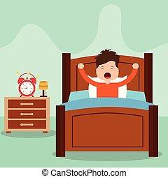 男の子, わずかしか, の上, イラスト, 目覚めること, ベクトル, ベッド, 背景, 白