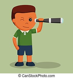 男の子, わずかしか, アフリカ, 望遠鏡, 使うこと