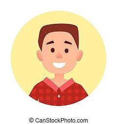 男の子, わずかしか, イラスト肖像画, 円, 漫画